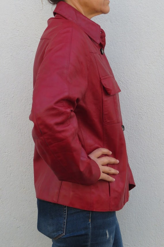 Vintage Leather Jacket Leather Shirt 80s 90s Red … - image 7