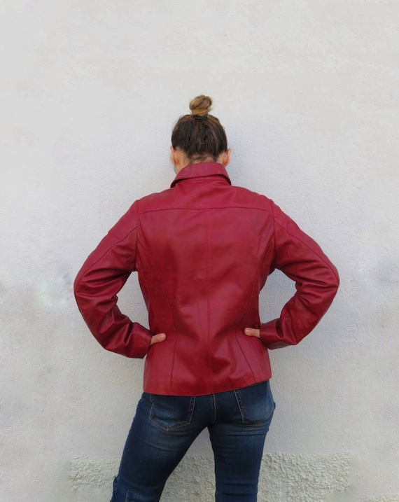 Vintage Leather Jacket Leather Shirt 80s 90s Red … - image 8