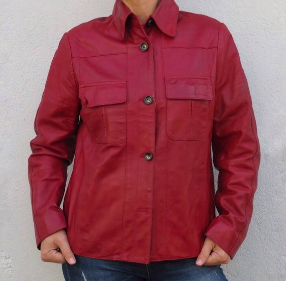 Vintage Leather Jacket Leather Shirt 80s 90s Red R