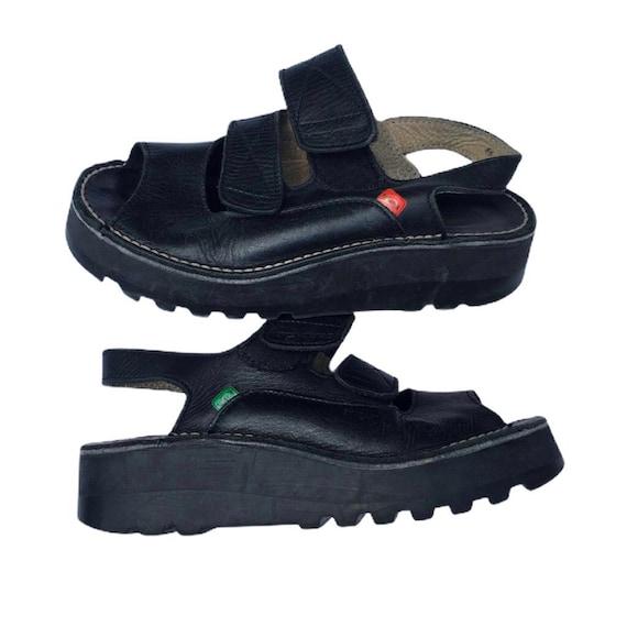 Vintage 90s Kickers Platfroms Black Leather Sandal