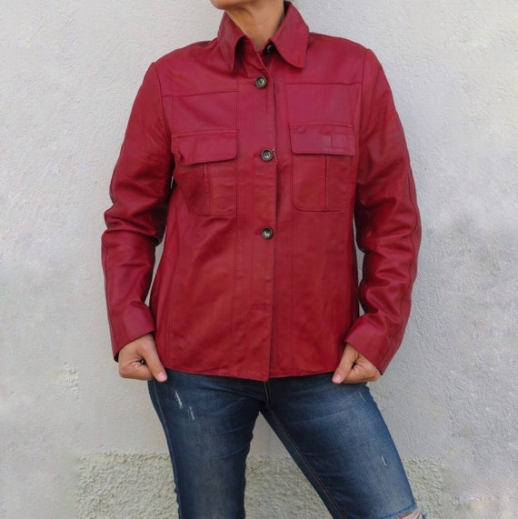 Vintage Leather Jacket Leather Shirt 80s 90s Red … - image 3