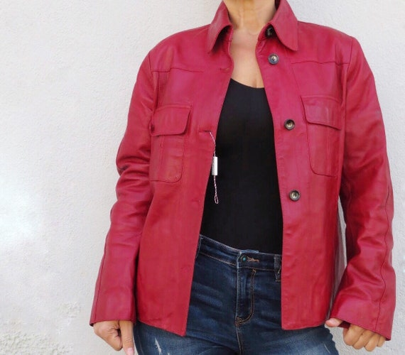 Vintage Leather Jacket Leather Shirt 80s 90s Red … - image 2