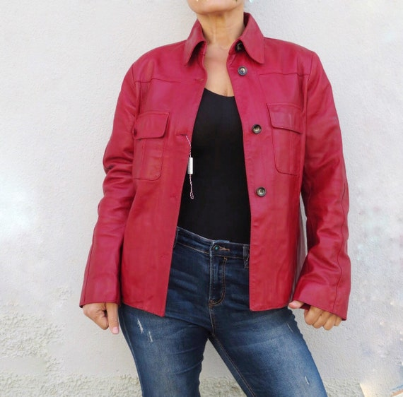 Vintage Leather Jacket Leather Shirt 80s 90s Red … - image 5