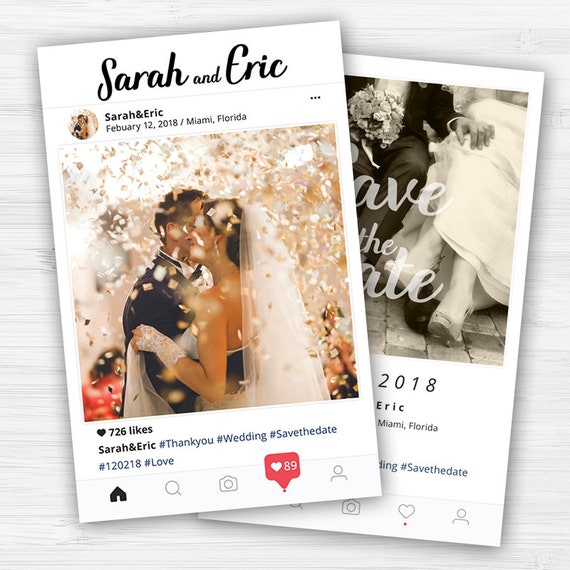 Instagram Save The Date Card Wedding Invitation Card Envelops