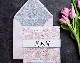 50 Gorgeous Lace Pocket Laser Cut Wedding Invitation  Set: Invitation, RSVP, Belly Band & Envelopes