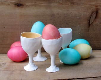 Set of 4 Porcelain Egg cups, easter,spring gift... ceramic  egg holder or shot glass