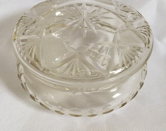 Etched Glass Victorian Trinket Box