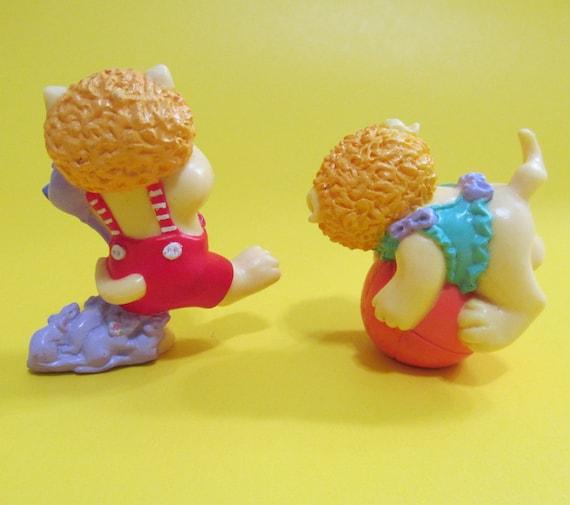 Koosas Cat Cabbage Patch Kids Figures FUZ TIP Lot of 2 PVC Cake Toppers Miniature Action Figures 1985