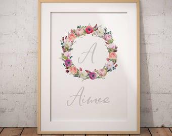 Custom Name Birth Details Print, Girls Name Print, Watercolour Floral Wreath, Grey, Pink, pastel Flowers, Printable Poster, Digital Download