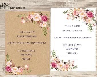 floral invitation etsy