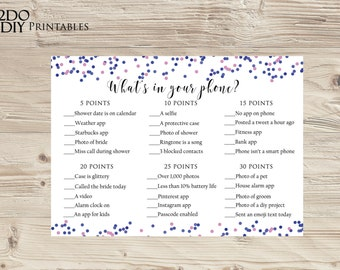 printable bridal shower games pink and navy printable phone raidwhats in your phonepink and navy17a instant download