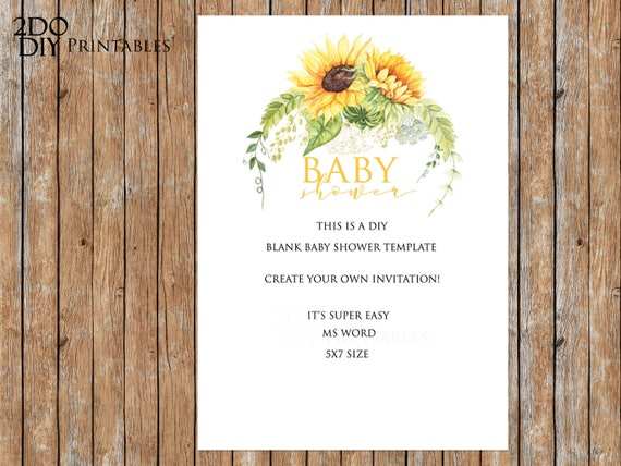 printable sunflower baby shower invitation editable template etsy