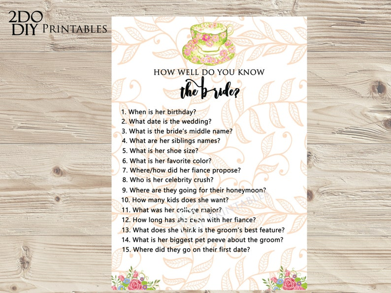 Tea Party Bridal Shower Games Who Knows Bride Vintage Tea Shower Tea Cup Bridal Shower Ideas Kitchen Tea Instant Download