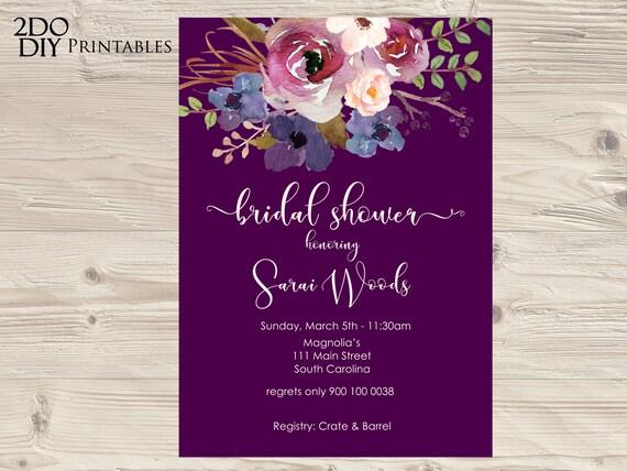 Purple Rose Wedding Invitations: Editable Invitation Purple Plum Roses Violet Blank