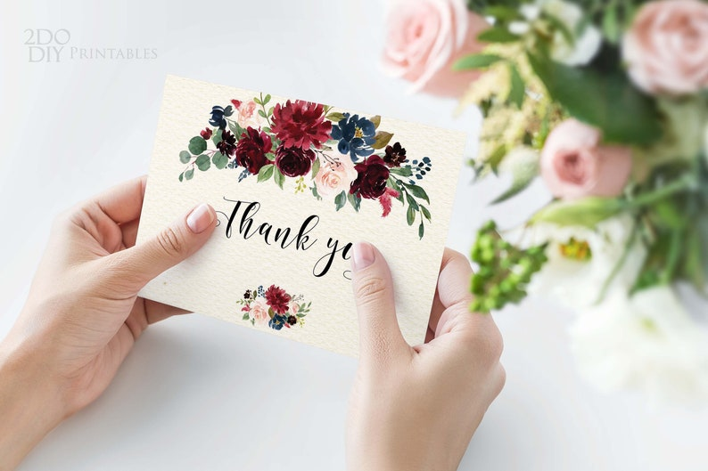 Bohemian Printable Burgundy Floral Thank You Cards Fold Over Thank you Template