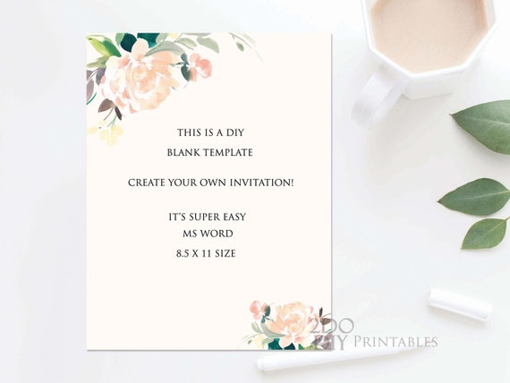 Blush Bridal Shower Invitation Template Editable Bridal Shower Invitation Floral Printable Diy Ms Word 8 5 X 11 Instant Download
