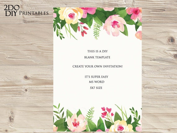 Printable Invitations Rehearsal Dinner Invitation Party Invites Floral Invitation Ms Word Invitation Template Instant Download