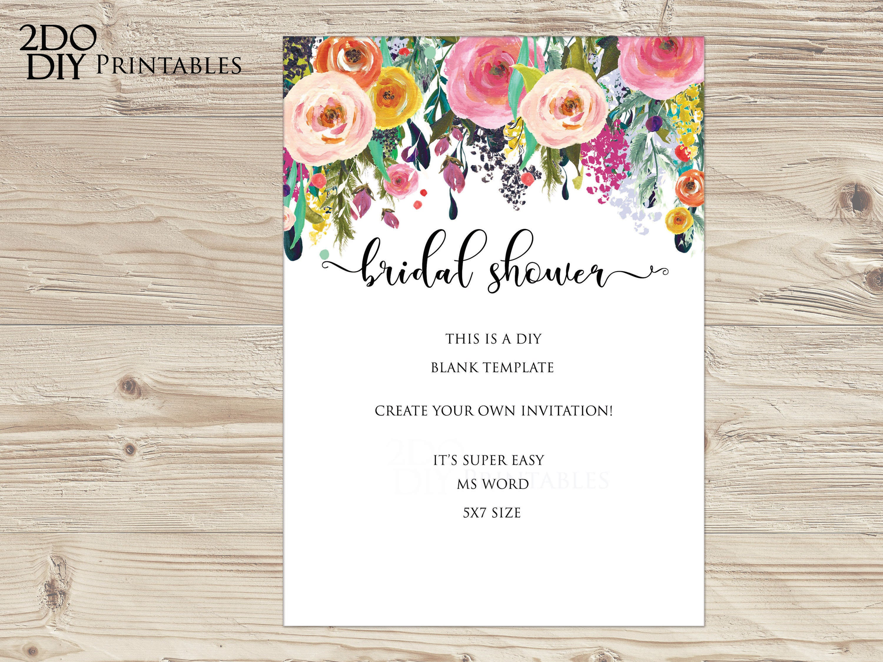 Printable Floral Invitation Bridal Shower Invitations Calligraphy Garden Bridal Shower Editable Template Ms Word Instant Download