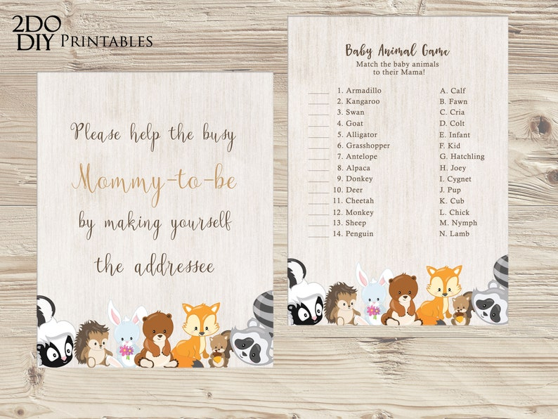 Woodland Baby Shower Games Package Woodland Game Package |Baby Shower Party Most Popular Instant Download Woodland Bundle