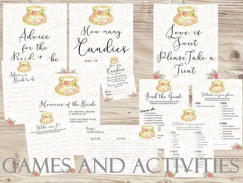 photo relating to Bridal Shower Printable Games named Tea Bridal Shower Game titles Printable Classic Tea Bridal Shower Offer Floral Tea Shower Kitchen area Tea Like Indication