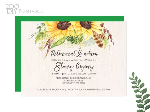 Yellow Sunflower Retirement Luncheon Retirement Invitation Farewell Template Retirement Party Sunflower Retirement 5x7