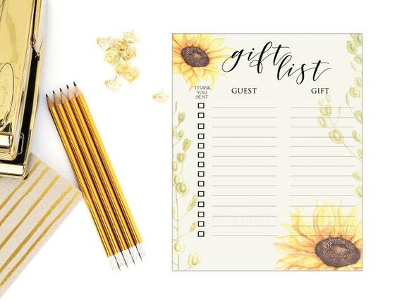 Wedding Gift List: Sunflower Gift List Sheet/Bridal Shower Gift List /Baby