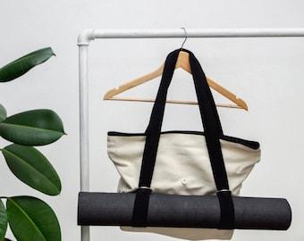 Yoga tote bag, Yoga mat bag, Canvas bag, Handmade shoulder bag, yoga gift