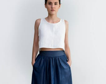 Denim skirt, Skirt with pockets, Jean Midi skirt, High waist skirt