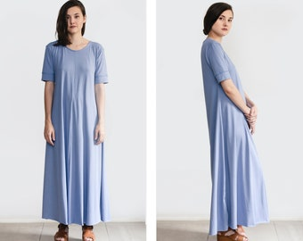 Maxi Dress, loose dress with sleeves, oversize clothing, plus size tunic, womens summer dress