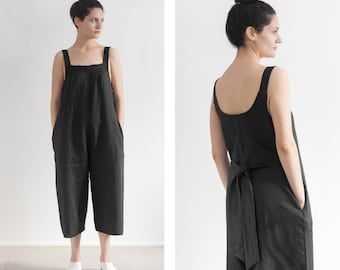 Linen Jumpsuit , linen overall , loose fit linen , bridal jumpsuit, casual wedding dress , linen clothing