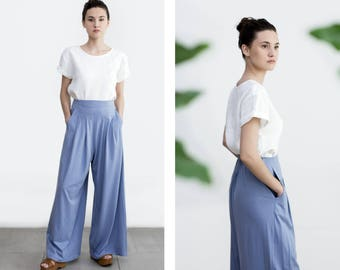 Culotte, Palazzo Pants , Wide Leg Pants , Loose fite Pants , Cotton High waisted Trouser , ethical clothing , plus size Pants