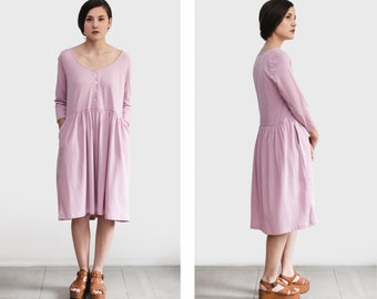 Nursing dress , Casual Cotton dress, pale pink loose dress, long sleeve dress, Handmade by Tienda Ceremony