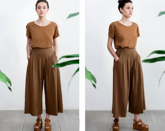 Cotton cropped pants with pockets , Culottes , Japanese Style trousers , Elastic Waist Plus size Pants , High waisted Trouser