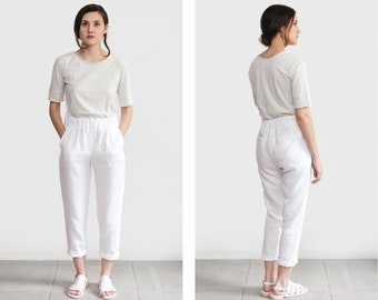 White linen pants, loose linen trousers, Washed women linen trousers, linen clothing