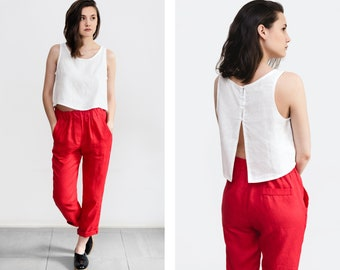 Red linen pants, loose linen trousers, Washed women linen trousers, linen clothing