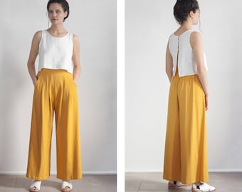 Wideleg Pants, Yellow Mustard Palazzo Pants , High waisted Trouser , tall palazzo pants , petite pants , plus size Pants
