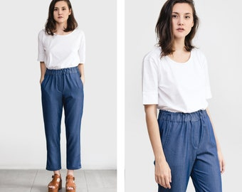 High waisted trousers , Elastic waistband pants , Slightly tapered pants , Basic clothes , festival fashion , gift for her