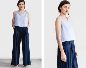 High-waist woman palazzo pants, wideleg trousers, flared pants, plus / large sizes, loose fit, modern winter pants