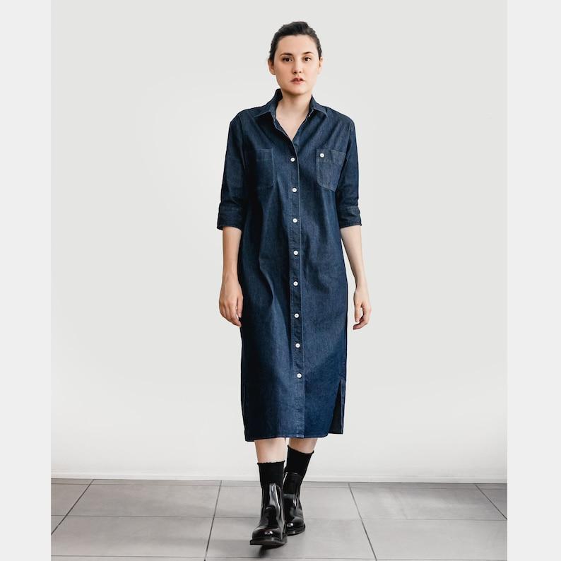 31d748b92944ae Denim jurk Maxi jurk Denim Shirtdress Oversized jurk
