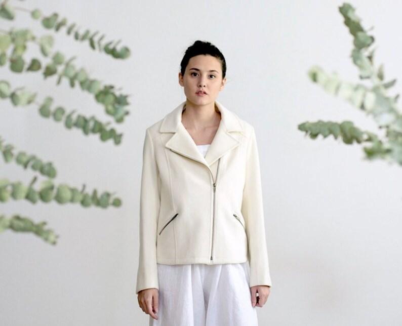 1cfbf0d83c Wool Jacket white coat minimalist clothing wedding coat by | Etsy