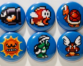 "Set of 10 Super Mario Bros. 3 Enemies 1"" Pinback Buttons"