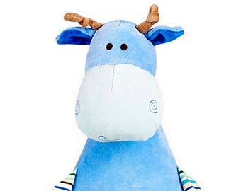 Personalised Blue Giraffe Children's Soft Toy,  Keepsake Gift for Celebration of Birth, Birthdays, Christening, Baby Shower