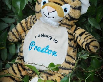 Personalised Tiger Children's Soft Toy,  Keepsake Gift for Celebration of Birth, Baby Shower, Birthdays, Christening & More