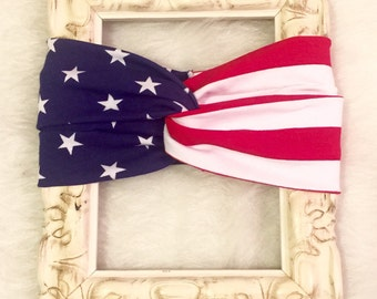 Turban Headband/4th of July/team USA/patriotic turban headband/Memorial Day turban, baby turban headband, turban style headband