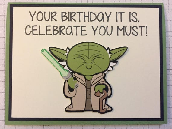 Disney Star Wars Yoda Birthday Greeting Card Etsy