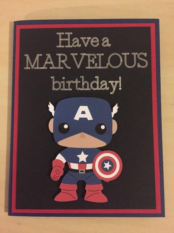 Disney Marvel Captain America Homemade Birthday Card Etsy