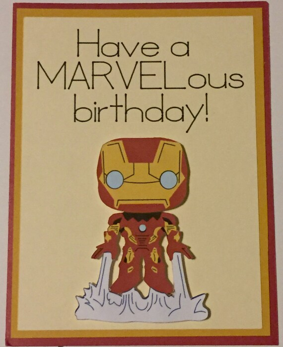 Disney Marvel Iron Man Homemade Birthday Card Etsy