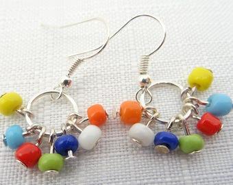 Multi Colour Seed Bead Hoop Earrings - Seed Bead Drop Earrings - Seed Bead Earrings - Silver Plated Seed Bead  EarringsGift for Her