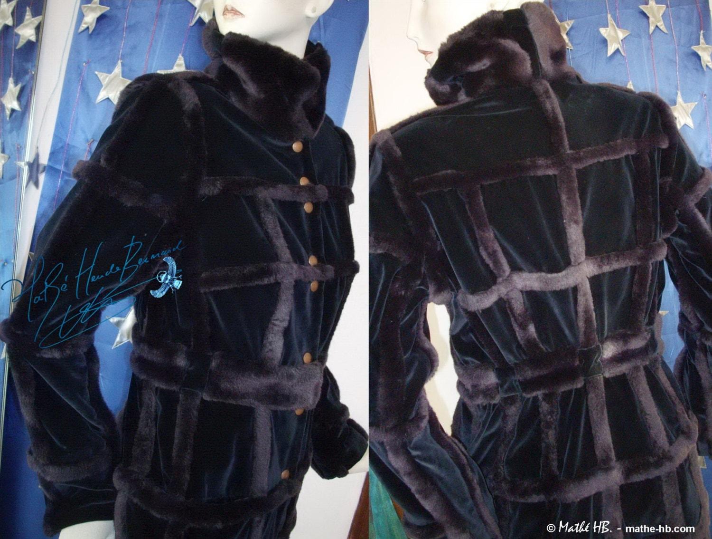 manteau long hiver grand froid velours de coton bleu nuit. Black Bedroom Furniture Sets. Home Design Ideas
