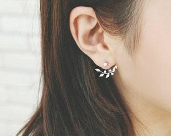 Leaf Ear jacket,  925 Sterling Silver Post, Wedding gift, CZ ear jacket, ear climber, Front back earring set, leaf earrings